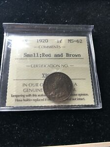 1920  ICCS GRADED CANADIAN SMALL ONE CENT   MS 62