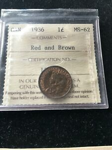 1936  ICCS GRADED CANADIAN SMALL ONE CENT   MS 62