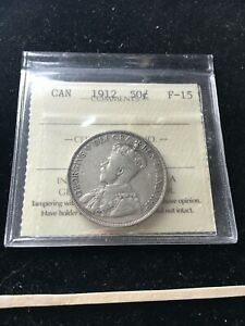 1912  ICCS GRADED CANADIAN 50 CENT   F 15