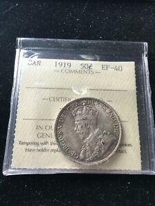 1919  ICCS GRADED CANADIAN 50 CENT   EF 40