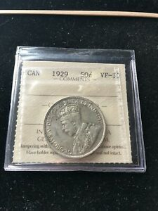 1929  ICCS GRADED CANADIAN 50 CENT   VF 30