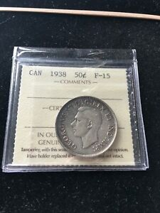 1938  ICCS GRADED CANADIAN SILVER 50 CENT   F 15