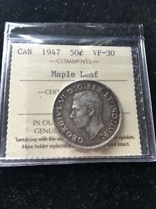 1947  MAPLE LEAF LEFT  ICCS GRADED CANADIAN 50 CENT   VF 30