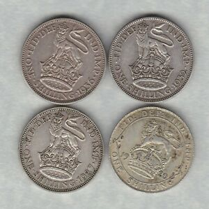 FOUR 1920/1927/1932 & 1936 GEORGE V SHILLINGS IN GOOD FINE/VERY FINE CONDITION