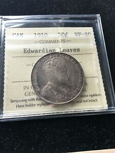 1910  EDWARDIAN LEAVES ICCS GRADED CANADIAN SILVER 50 CENT   VF 20