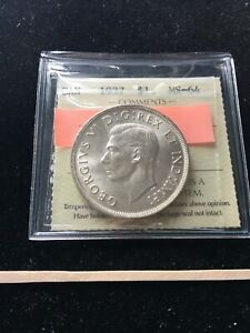 1937   DHP NOT NOTED ON HOLDER  ICCS GRADED CANADIAN SILVER DOLLAR   MS 64
