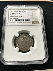 Click now to see the BUY IT NOW Price! 1875H  BLUNT 5 NGC GRADED CANADIAN  25  CENT   AU DETAILS / OBV SCRATCHED