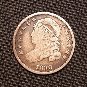 1830 CAPPED BUST DIME   FINE F