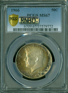 Click now to see the BUY IT NOW Price! 1966 KENNEDY HALF DOLLAR PCGS MAC MS67 BUSINESS RNBO RAINBOW FINEST FLAWLESS