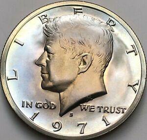1971 S KENNEDY HALF DOLLAR BU CLAD COIN TONING FROM US MINT  161 & 603
