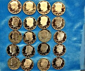 PROOF CLAD KENNEDY HALF DOLLAR ROLL OF 20 DIFF.  COINS 1971   1999   NICE COINS