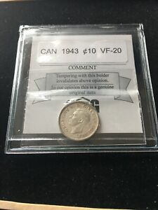 1943  COIN MART GRADED CANADIAN  10  CENT   VF 20