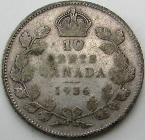 1936 CANADA 10 CENTS SILVER  TEN CENTS 10C  IN A SAFLIP   FINE   VG