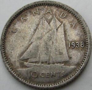 1938 CANADA 10 CENTS SILVER  TEN CENTS 10C  IN A SAFLIP   FINE   VG