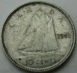 1949 CANADA 10 CENTS SILVER  TEN CENTS 10C  IN A SAFLIP   XF   VF