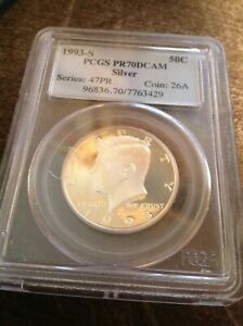 1993 S SILVER KENNEDY HALF DOLLAR PROOF 70 DEEP CAMEO GRADED BY PCGS