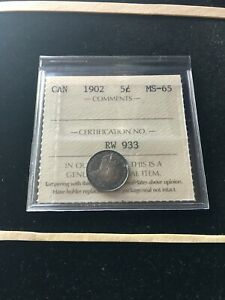 1902   ICCS GRADED CANADIAN  5 CENT   MS 65