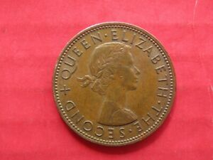 COIN NEW ZEALAND ONE PENNY 1964 QUEEN ELIZABETH II TUI BIRD KOWHAI BLOSSOMS
