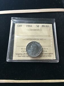 1944  ICCS GRADED CANADIAN  5 CENT   MS 65