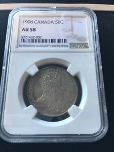 1906  NGC GRADED CANADIAN SILVER 50 CENT   AU 58