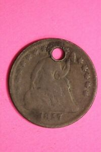 1857 P SEATED LIBERTY HALF DIME EXACT COIN SHOWN FLAT RATE SHIPPING OCE 02