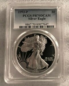 1993 P PROOF AMERICAN SILVER EAGLE PR 70 PCGS DCAM   LIMITED MINTAGE