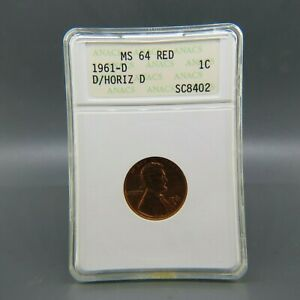 1961 D OVER HORIZ D LINCOLN CENT ANACS MS64 RED FS 501 MINT ERROR