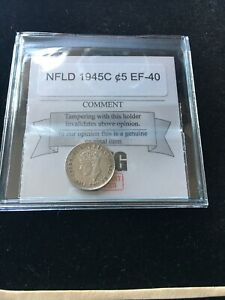 1945C  COIN MART GRADED NEWFOUNDLAND  SMALL SILVER 5 CENT   EF 40