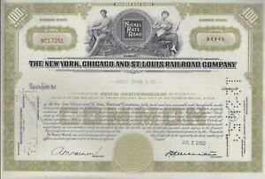 USA SHARE / STOCK CERTIFICATE NEW YORK CHICAGO ST LOUIS RAILROAD COMPANY 1952
