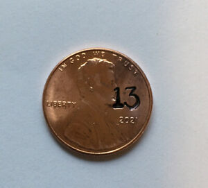 2021 LINCOLN CENT COUNTERSTAMP LUCKY  13 LOTTO SCRATHER PENNY  P 13 2