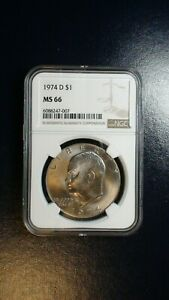1974 D EISENHOWER DOLLAR NGC MS66 GEM IKE $1 COIN PRICED TO SELL NOW