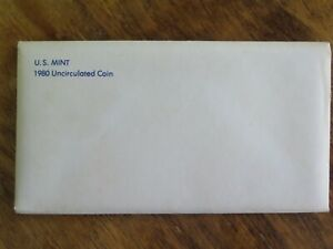 1980 P & D MINT SET OF 13 BRILLIANT UNCIRCULATED US COINS AS ISSUED W/ENVELOPE