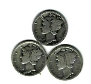 1926 P  1926 D  AND 1926 S   MERCURY DIMES  3 COINS 90  SILVER PDS YEAR SET