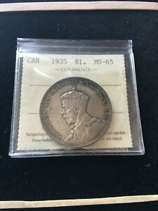 1935  ICCS GRADED CANADIAN SILVER DOLLAR   MS 65