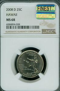 Click now to see the BUY IT NOW Price! 2008 D HAWAII QUARTER NGC MS68 PQ MAC FINEST BUSINESS MAC SPOTLESS