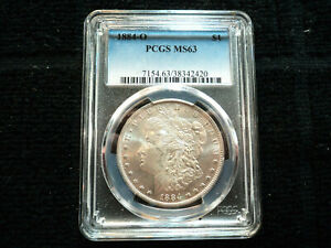1884 O MORGAN DOLLAR $1.00 COIN 90  SILVER GRADED PCGS MS 63 NEW ORLEANS MINT