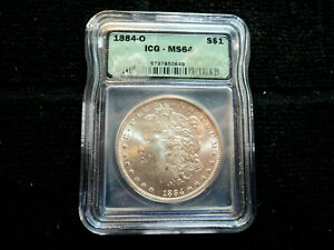 1884 O MORGAN DOLLAR $1.00 COIN 90  SILVER GRADED ICG MS 64 NEW ORLEANS MINT