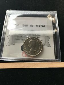 1955  COIN MART GRADED CANADIAN  5 CENT   MS 62