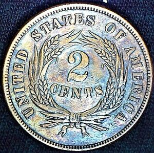 1865 ERROR TWO CENT PIECE COLLECTOR TYPE COIN DOUBLE DIE OVERSE & REVERSE