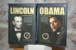 UNITED STATES COMMEMORATIVE GALLERY LINCOLN OBAMA 16TH 44TH PRESIDENT COINS BC