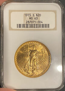 1915 S $20 GOLD ST. GAUDENS. NGC MS63.  DATE  OLD SOAP DISH HOLDER. UPGRADE
