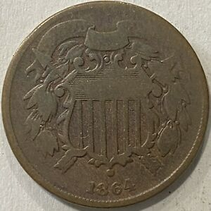 1864 SMALL MOTTO 2 CENT PIECE. SMALL D VISIBLE. GOOD