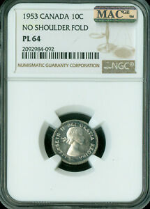 Click now to see the BUY IT NOW Price! 1953 NSF CANADA 10 CENTS NGC MAC PL 64 PQ  2ND FINEST GRADE  POP 2