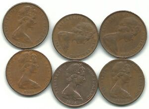 VERY NICE LOT 6 NEW ZEALAND 2 CENTS 1966 1967 1971 1973 1974 1981 SEP793