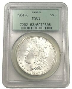 1904 O MS63 MORGAN SILVER DOLLAR PCGS OLD GREEN HOLDER MINT STATE