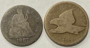 2 COIN TYPE SET LOT. 1887 SEATED LIBERTY SILVER DIME AND 1858 FLYING EAGLE CENT