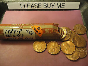 1989 P LINCOLN CENT RED CIRCS AU ROLL            C/S & H AVAILABLE