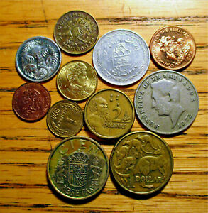 LOT OF 11 DIFFERENT WORLD COINS  F AU GRADES  NICE DETAILS   LOT WC12