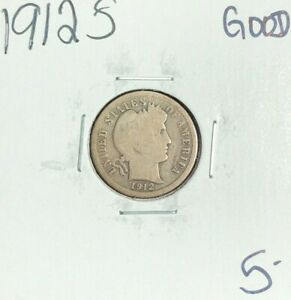 1912 S BARBER SILVER DIME   GOOD  NICE COIN