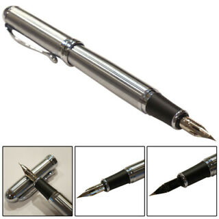 Jinhao Y1 Lacquered Yellow Fine Fountain Pen with Chrome Trim